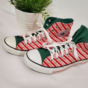 Converse high tops candy cane stripes Christmas